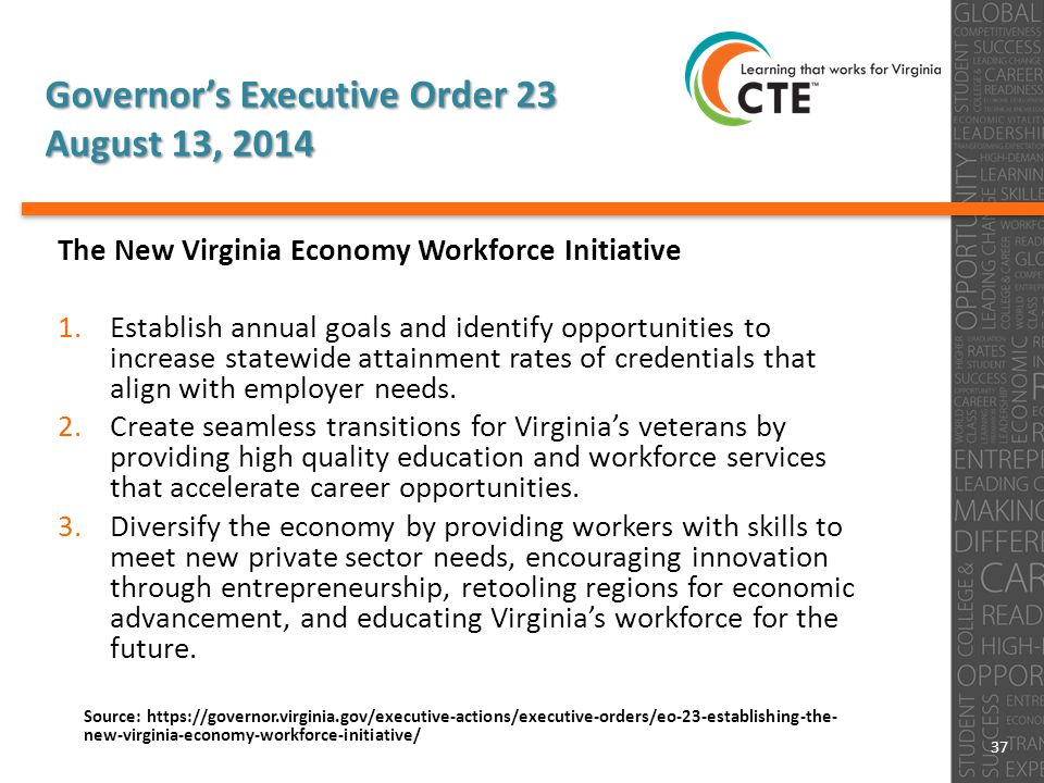 Governor's Executive Order 23 August 13, 2014 The New Virginia Economy Workforce Initiative 1.Establish annual goals and identify opportunities to increase statewide attainment rates of credentials that align with employer needs.