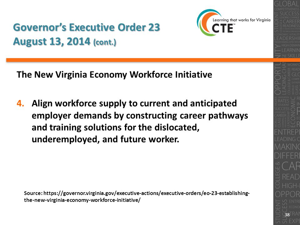 Governor's Executive Order 23 August 13, 2014 (cont.) The New Virginia Economy Workforce Initiative 4.Align workforce supply to current and anticipated employer demands by constructing career pathways and training solutions for the dislocated, underemployed, and future worker.