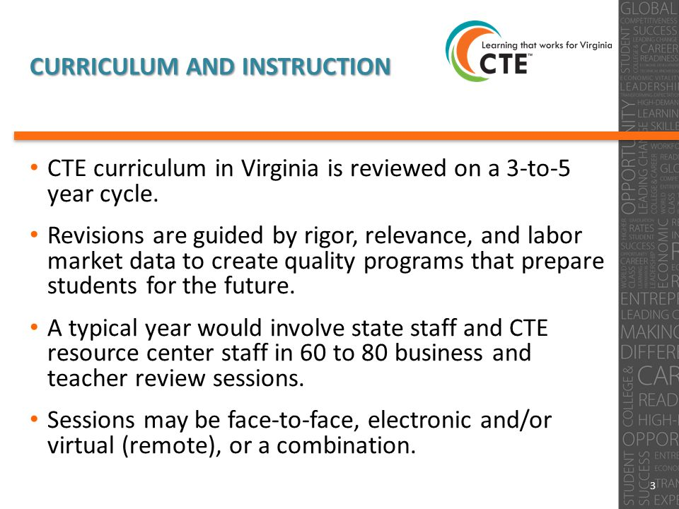 CURRICULUM AND INSTRUCTION CTE curriculum in Virginia is reviewed on a 3-to-5 year cycle.