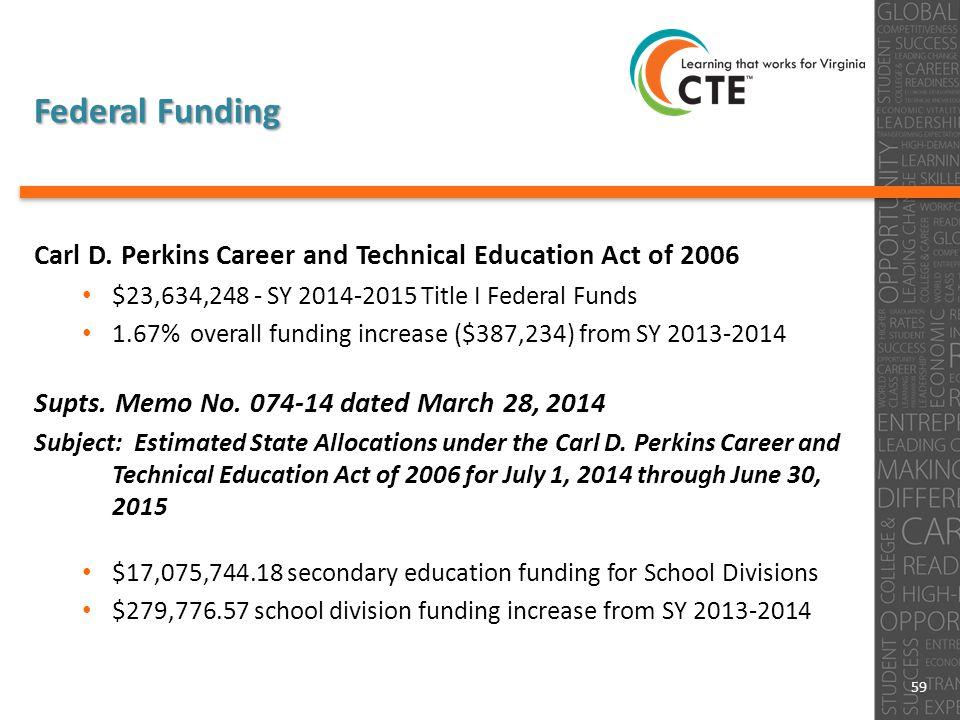 Federal Funding Carl D.