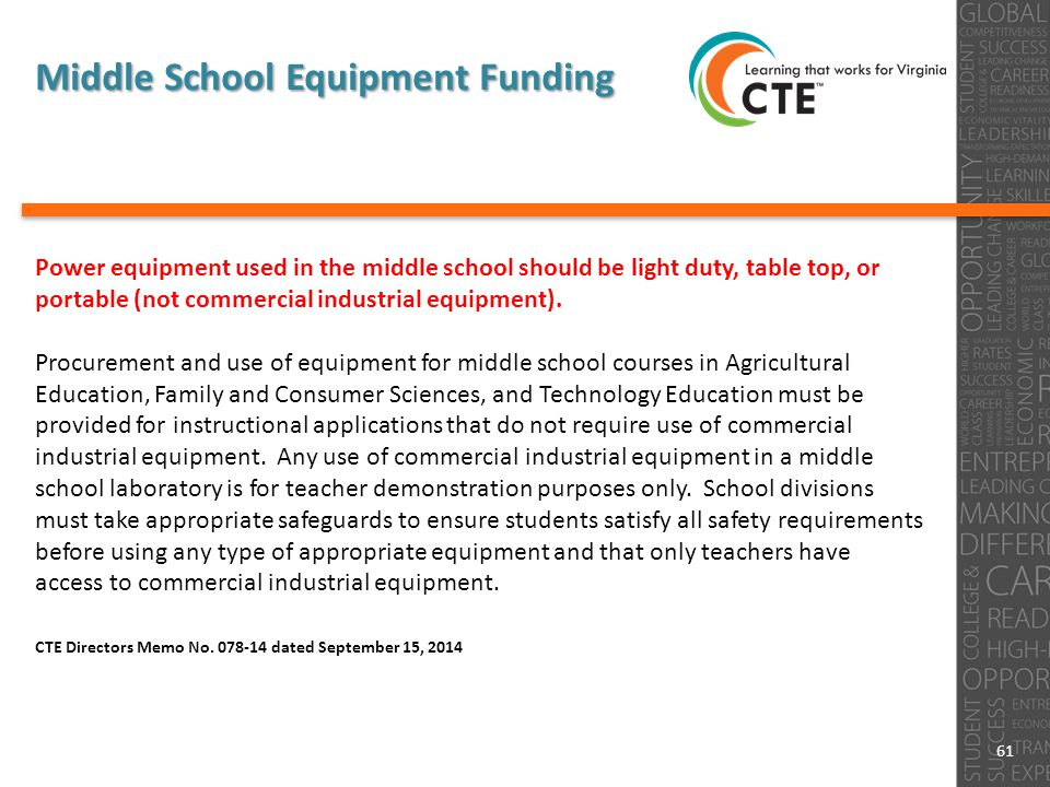 Power equipment used in the middle school should be light duty, table top, or portable (not commercial industrial equipment).