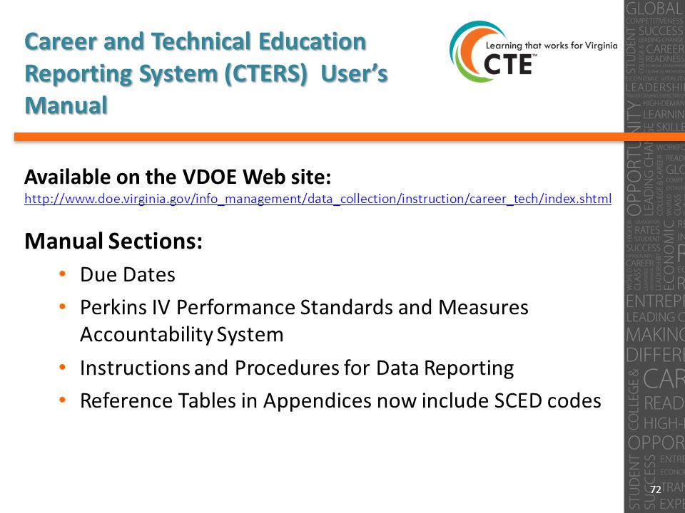 Career and Technical Education Reporting System (CTERS) User's Manual Available on the VDOE Web site: http://www.doe.virginia.gov/info_management/data_collection/instruction/career_tech/index.shtml Manual Sections: Due Dates Perkins IV Performance Standards and Measures Accountability System Instructions and Procedures for Data Reporting Reference Tables in Appendices now include SCED codes 72