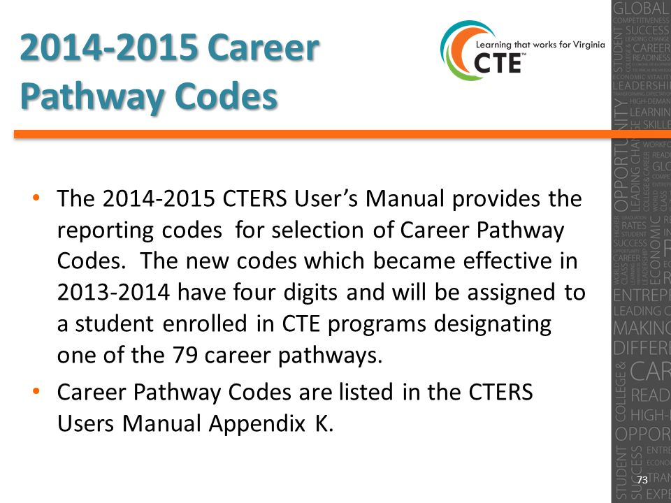 2014-2015 Career Pathway Codes The 2014-2015 CTERS User's Manual provides the reporting codes for selection of Career Pathway Codes.