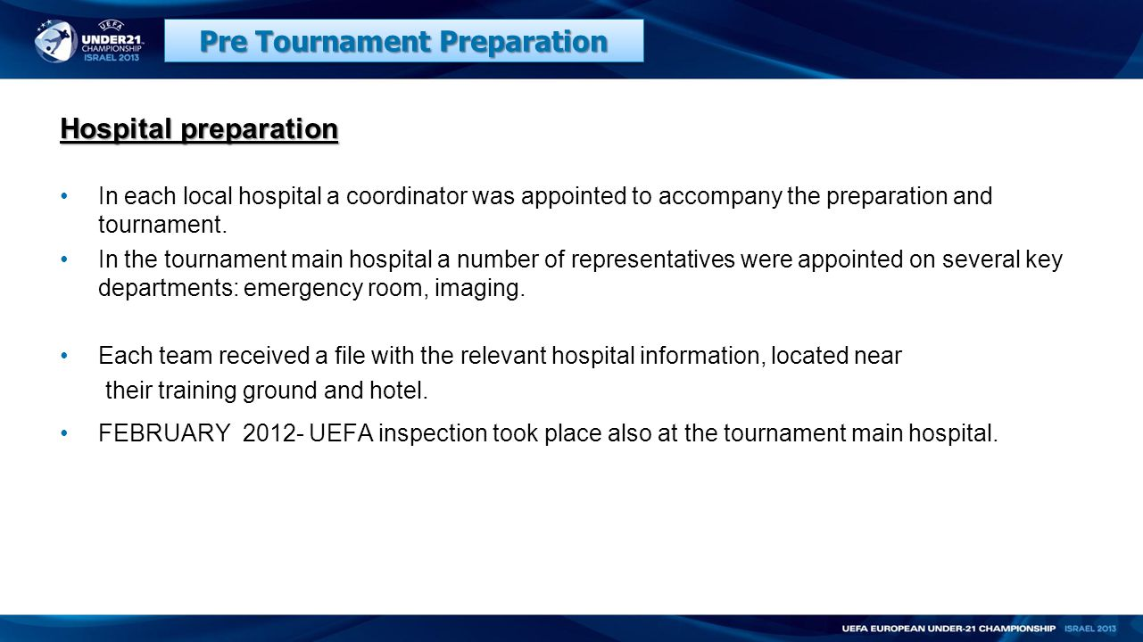 Summary- Local tournament medical staff AmountTask 1(TD)Tournament Doctor 7Pitch-side and Spectator Doctors 1Tournament Medical coordinator (TMC) 18-36First Aid Service (MDA) 20Anti Doping Chaperons Post Tournament Summary & Recommendations