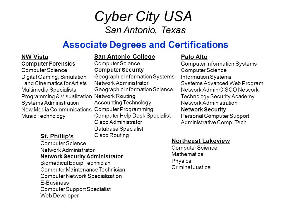 St. Phillip's Computer Science Network Administrator Network Security Administrator Biomedical Equip Technician Computer Maintenance Technician Comput