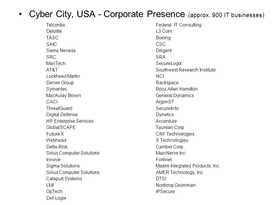Cyber City, USA - Corporate Presence (approx. 900 IT businesses) TelcordiaFederal IT Consulting DeloitteL3 Com TASCBoeing SAICCSC Sierra NevadaDiligen