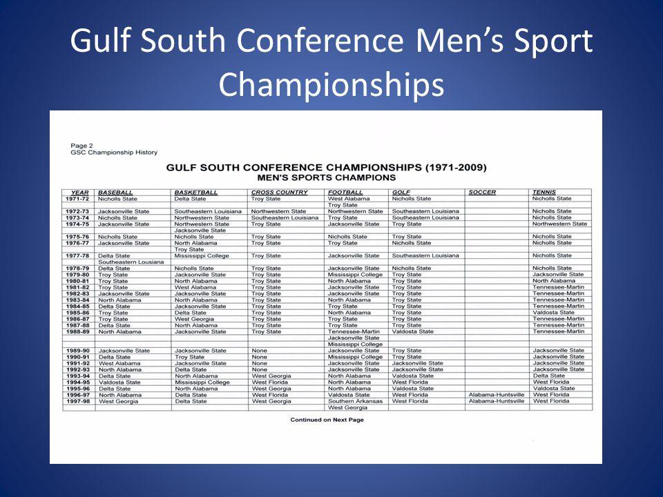 Gulf South Conference Men's Sport Championship Con't
