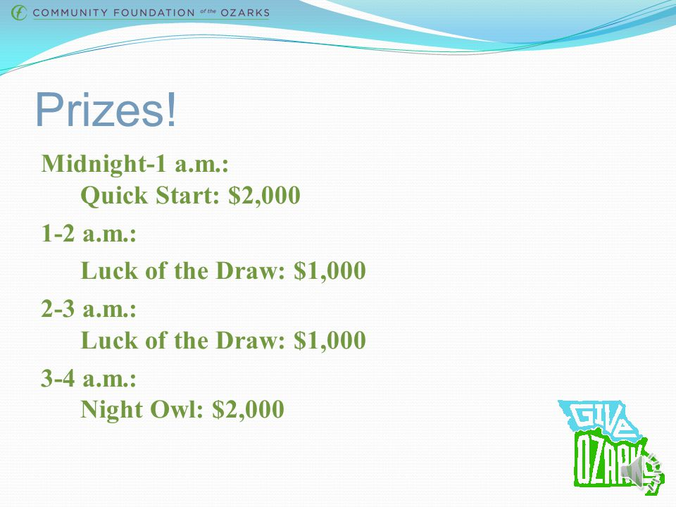 Prizes! Thanks to our sponsors, we will award $92,500 in cash prizes, along with some non- cash prizes! Total of 62 prizes available.