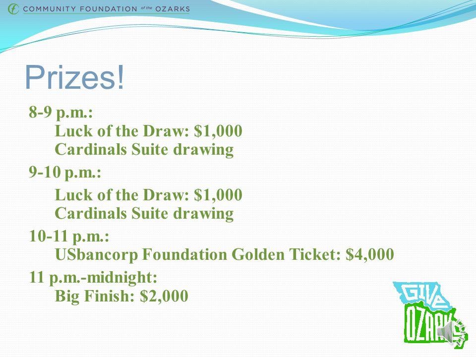 Prizes! 4-5 p.m.: Edward Jones Golden Ticket: $4,000 5-6 p.m.: Luck of the Draw: $1,000 Pack the Park: $500 6-7 p.m.: Luck of the Draw: $1,000 Pack th