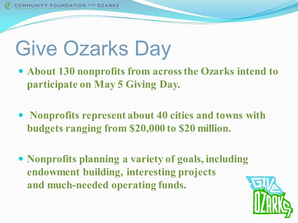 Give Ozarks Training Session April 2015