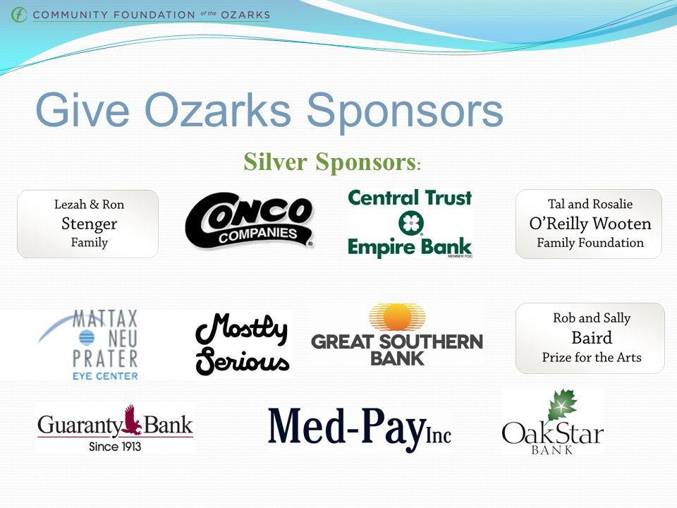 Give Ozarks Sponsors Gold Sponsors: