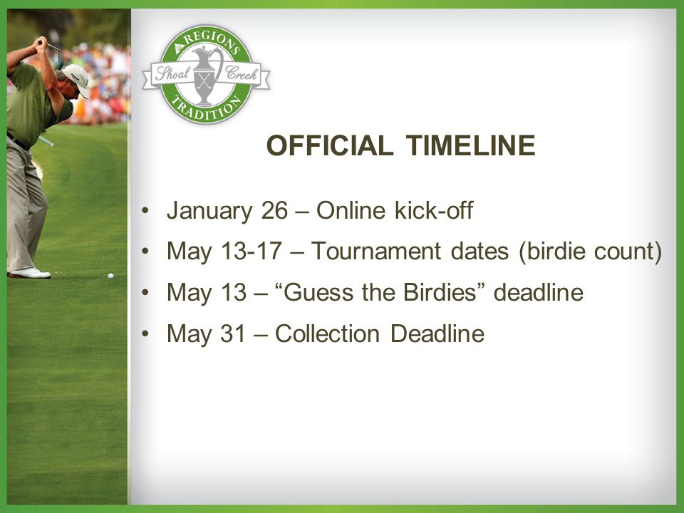 January 26 – Online kick-off May 13-17 – Tournament dates (birdie count) May 13 – Guess the Birdies deadline May 31 – Collection Deadline OFFICIAL TIMELINE