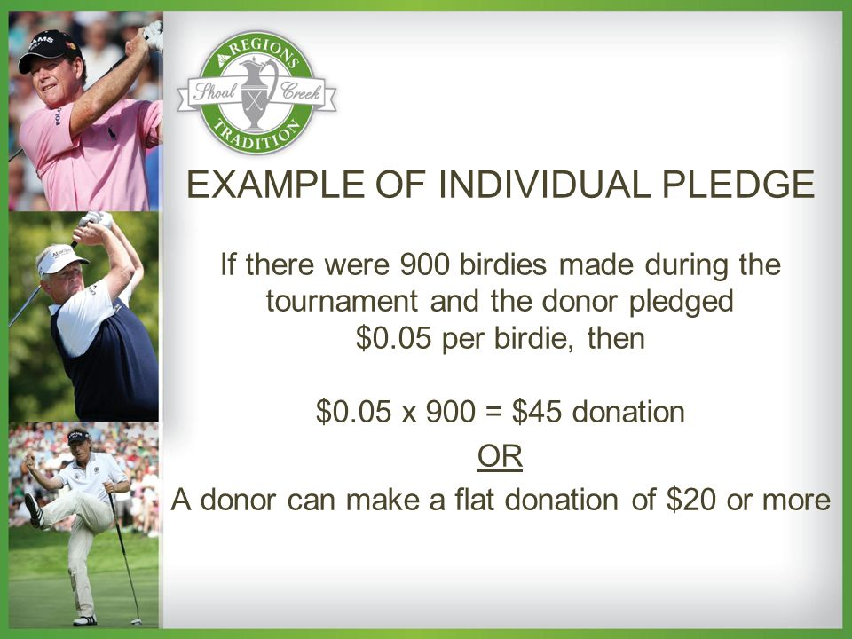 EXAMPLE OF INDIVIDUAL PLEDGE If there were 900 birdies made during the tournament and the donor pledged $0.05 per birdie, then $0.05 x 900 = $45 donation OR A donor can make a flat donation of $20 or more