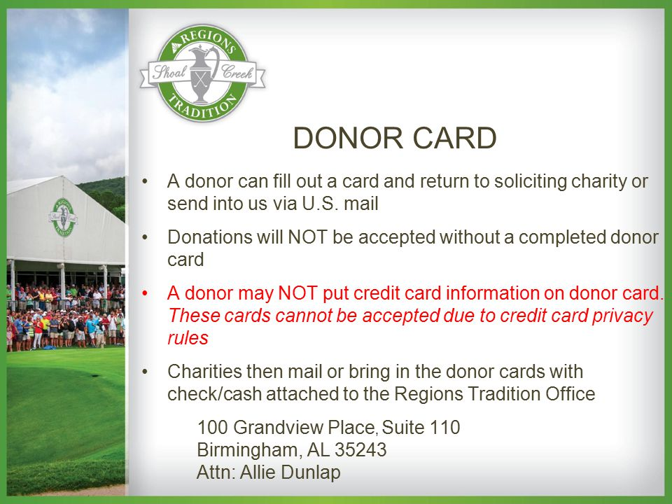 A donor can fill out a card and return to soliciting charity or send into us via U.S.