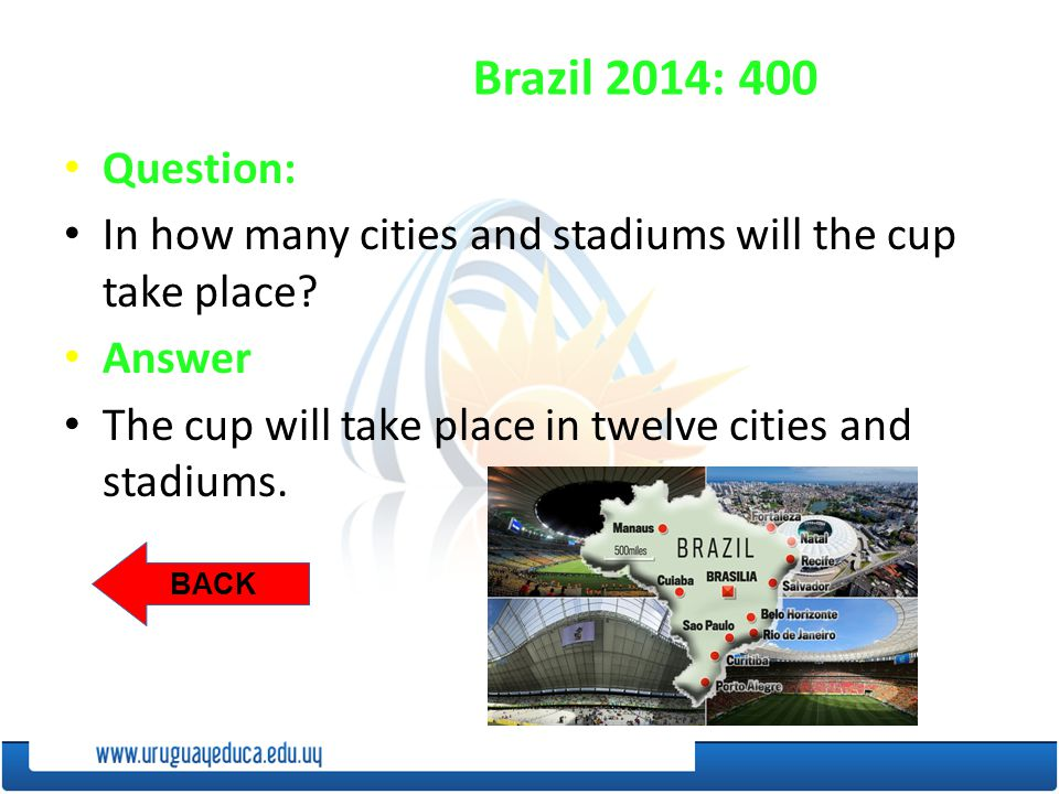 BACK Brazil 2014: 400 Question: In how many cities and stadiums will the cup take place.