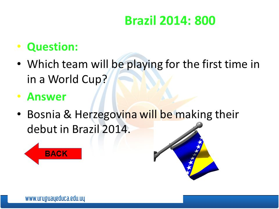 BACK Brazil 2014: 800 Question: Which team will be playing for the first time in in a World Cup.