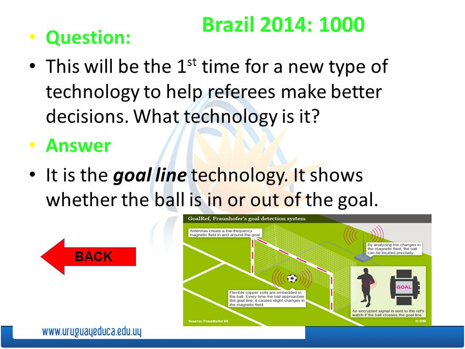 BACK Brazil 2014: 1000 Question: This will be the 1 st time for a new type of technology to help referees make better decisions.