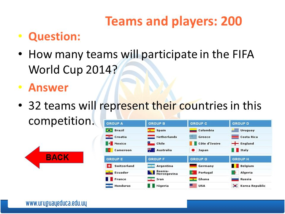 BACK Question: How many teams will participate in the FIFA World Cup 2014.