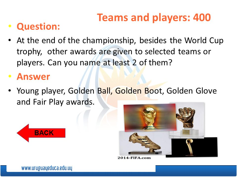 BACK Teams and players: 400 Question: At the end of the championship, besides the World Cup trophy, other awards are given to selected teams or players.