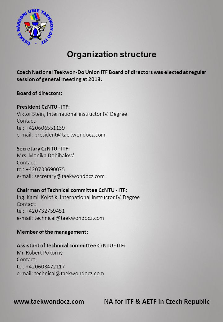 Organization structure Czech National Taekwon-Do Union ITF Board of directors was elected at regular session of general meeting at 2013.