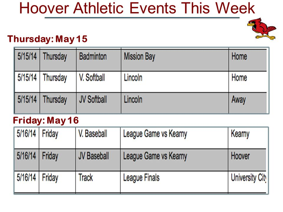 Hoover Athletic Events This Week Friday: May 16 Thursday: May 15