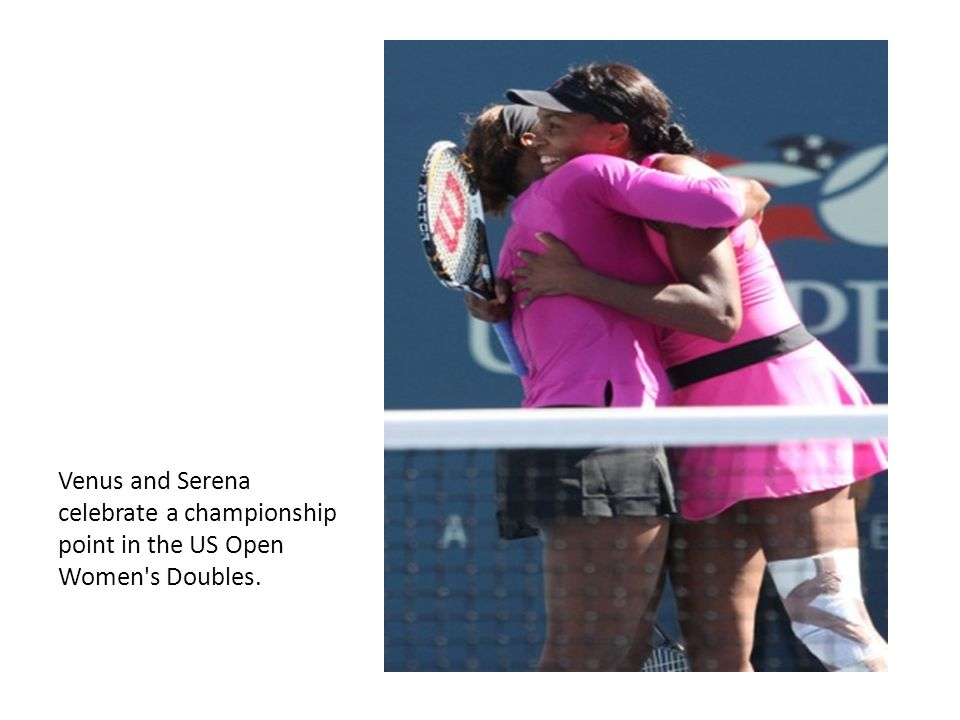 Venus and Serena celebrate a championship point in the US Open Women's Doubles.
