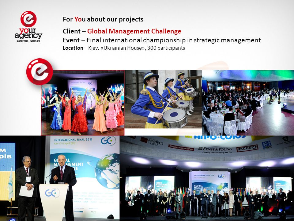 Client – Global Management Challenge Event – Final international championship in strategic management Location – Kiev, «Ukrainian House», 300 participants For You about our projects