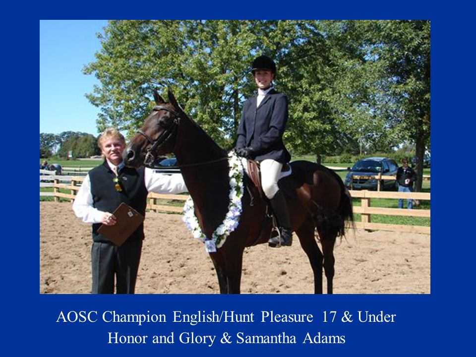 AOSC Champion English/Hunt Pleasure 17 & Under Honor and Glory & Samantha Adams