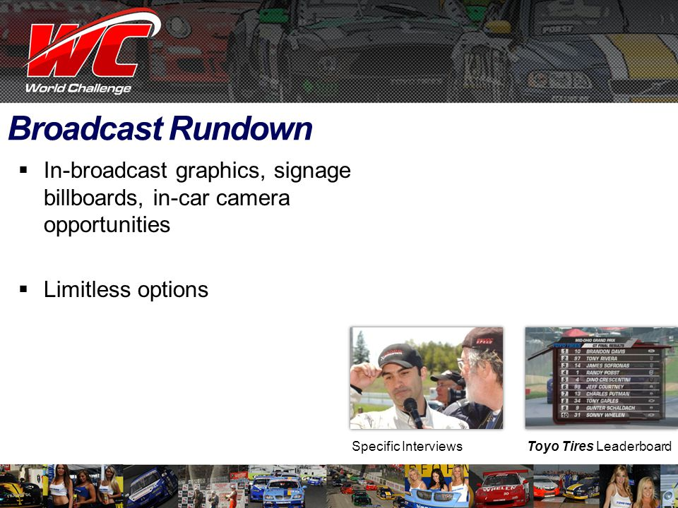 Broadcast Rundown  In-broadcast graphics, signage billboards, in-car camera opportunities  Limitless options Toyo Tires LeaderboardSpecific Interviews