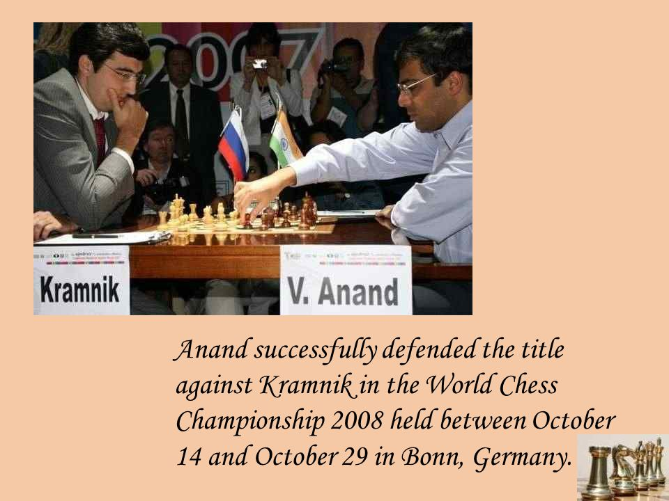 In October 2003 Anand won FIDE World Rapid Chess Champion 2003 event ahead of ten of the other top twelve players in the world, beating Kramnik in the final.