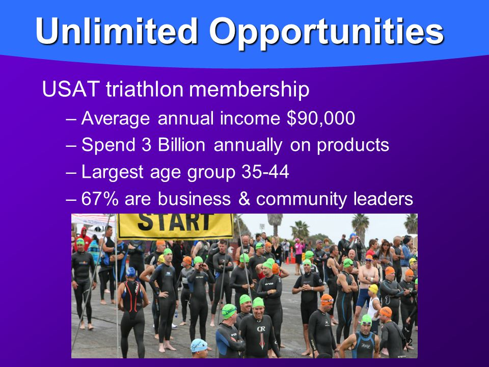 USAT triathlon membership –Average annual income $90,000 –Spend 3 Billion annually on products –Largest age group 35-44 –67% are business & community leaders Unlimited Opportunities 12