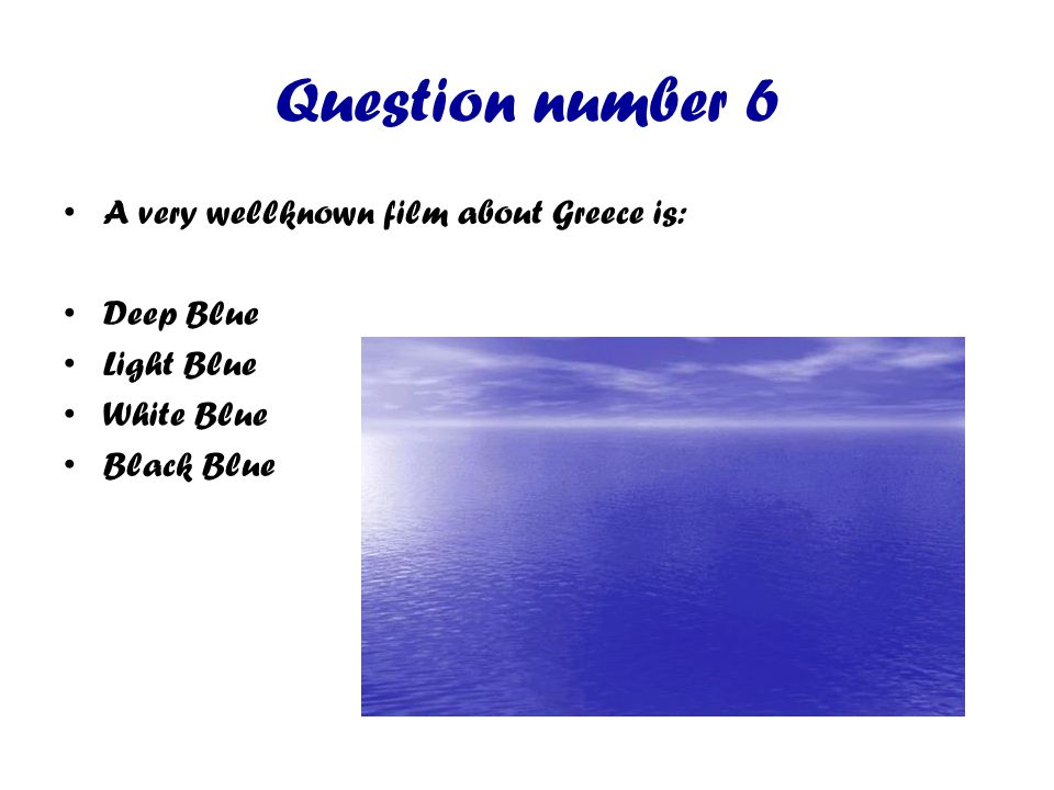 Question number 7 A famous Greek dance is: Walz Tango Salsa Syrtaki