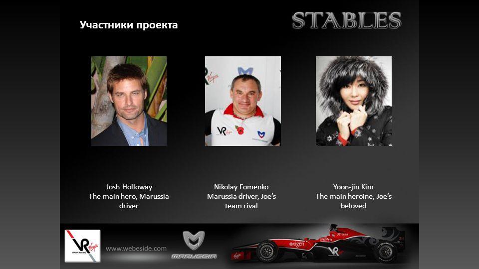 Участники проекта Josh Holloway The main hero, Marussia driver Nikolay Fomenko Marussia driver, Joe's team rival Yoon-jin Kim The main heroine, Joe's