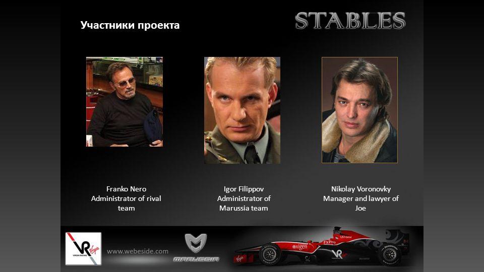 Участники проекта Nikolay Voronovky Manager and lawyer of Joe Igor Filippov Administrator of Marussia team Franko Nero Administrator of rival team
