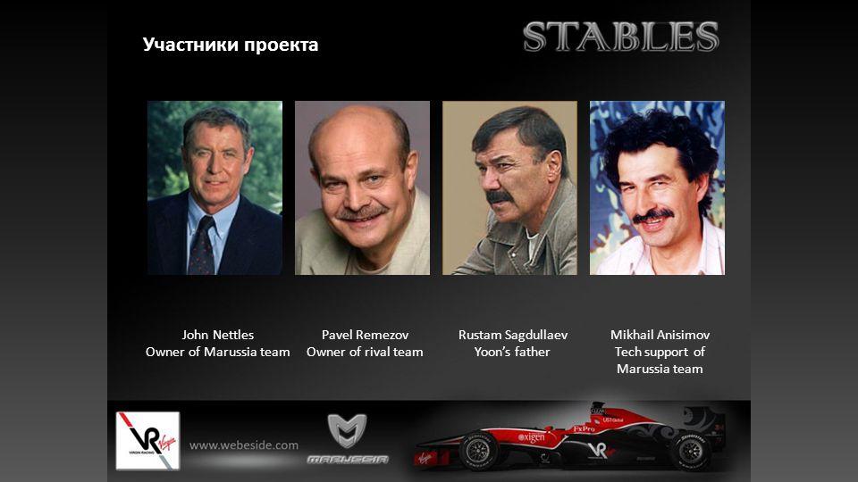 Участники проекта John Nettles Owner of Marussia team Pavel Remezov Owner of rival team Rustam Sagdullaev Yoon's father Mikhail Anisimov Tech support