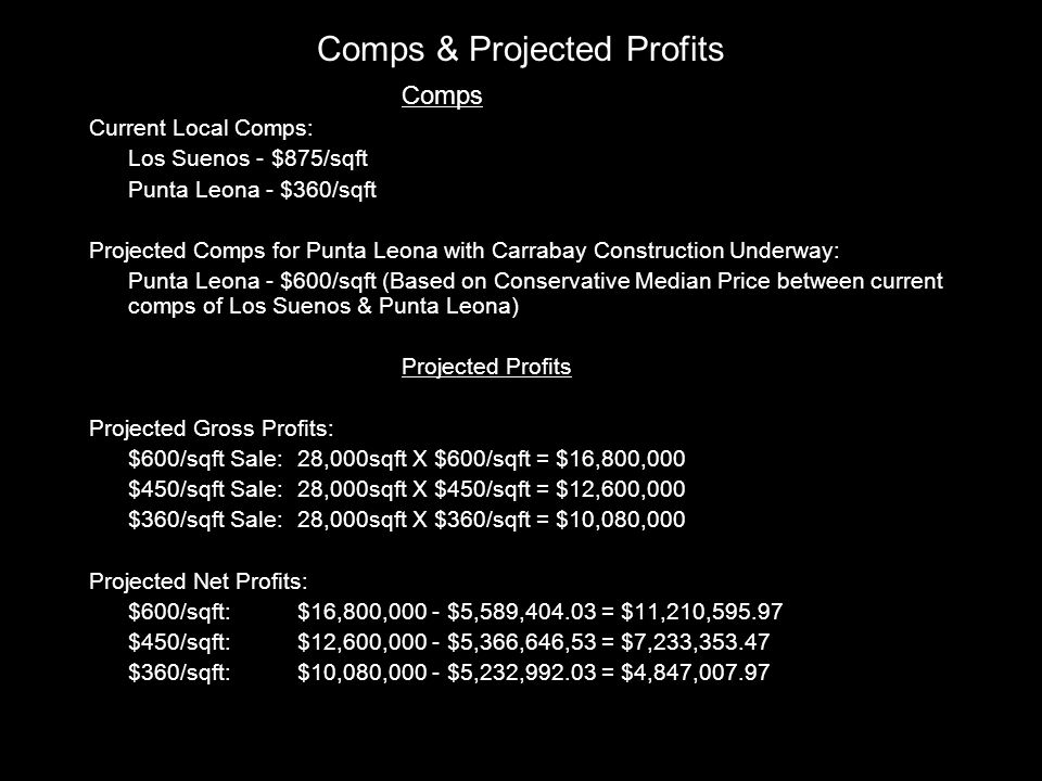 Comps Current Local Comps: Los Suenos - $875/sqft Punta Leona - $360/sqft Projected Comps for Punta Leona with Carrabay Construction Underway: Punta Leona - $600/sqft (Based on Conservative Median Price between current comps of Los Suenos & Punta Leona) Projected Profits Projected Gross Profits: $600/sqft Sale:28,000sqft X $600/sqft = $16,800,000 $450/sqft Sale:28,000sqft X $450/sqft = $12,600,000 $360/sqft Sale:28,000sqft X $360/sqft = $10,080,000 Projected Net Profits: $600/sqft:$16,800,000 - $5,589,404.03 = $11,210,595.97 $450/sqft: $12,600,000 - $5,366,646,53 = $7,233,353.47 $360/sqft:$10,080,000 - $5,232,992.03 = $4,847,007.97 Comps & Projected Profits