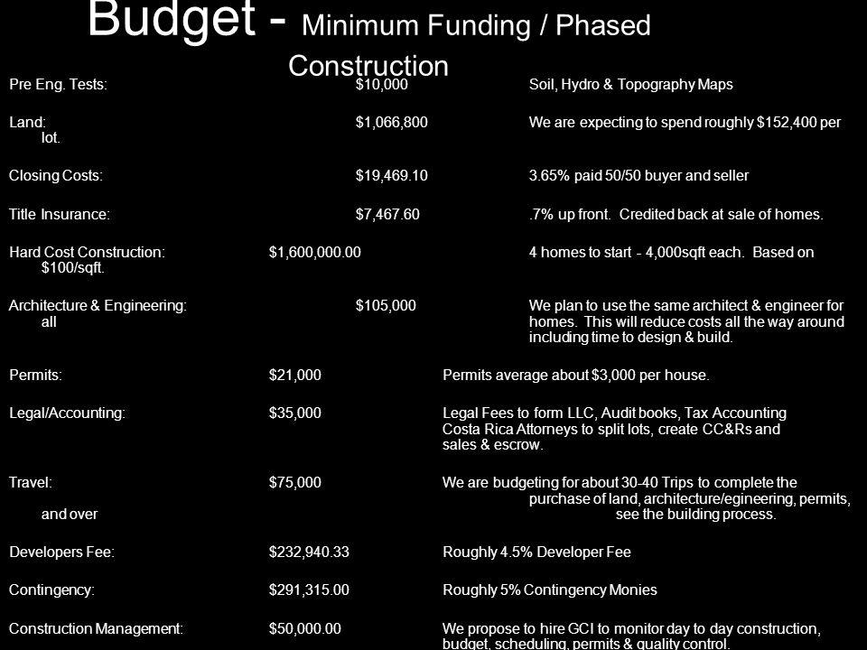 Budget - Minimum Funding / Phased Construction Pre Eng.