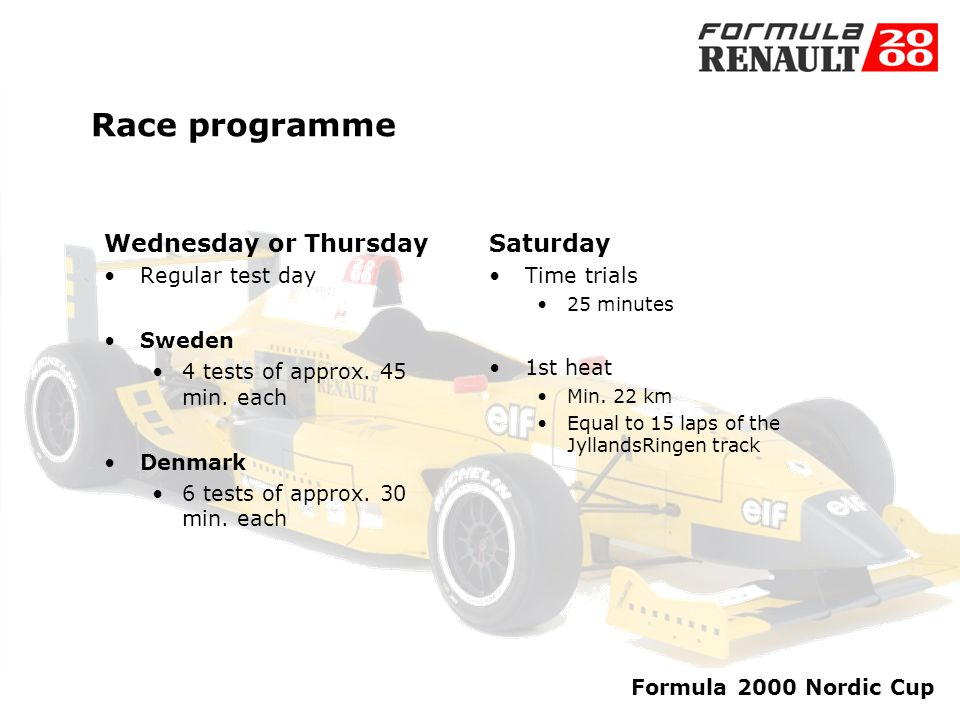 Formula 2000 Nordic Cup Races 2004 2. May Jyllandsringen Together with Danish Touringcar Championship (DTC) 16.May Padborg Park DTC 30. May Karlskogna