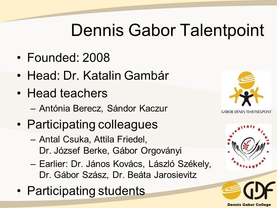 Dennis Gabor Talentpoint Founded: 2008 Head: Dr. Katalin Gambár Head teachers –Antónia Berecz, Sándor Kaczur Participating colleagues –Antal Csuka, At