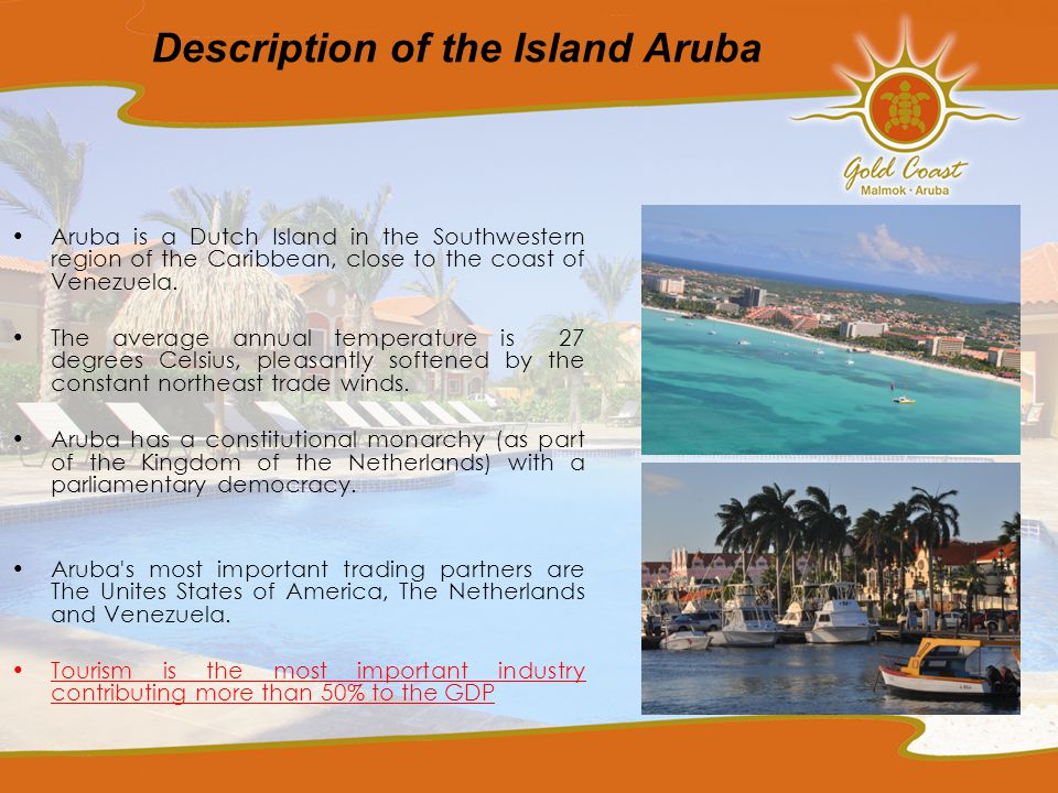 Description of the Island Aruba Aruba is a Dutch Island in the Southwestern region of the Caribbean, close to the coast of Venezuela.