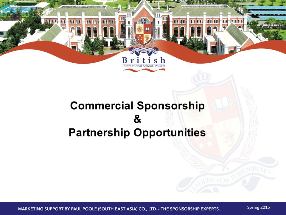 OFFICIAL CAMERA Spring 2015 Commercial Sponsorship & Partnership Opportunities
