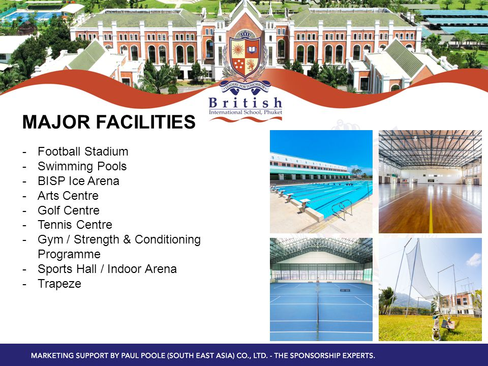 MAJOR FACILITIES -Football Stadium -Swimming Pools -BISP Ice Arena -Arts Centre -Golf Centre -Tennis Centre -Gym / Strength & Conditioning Programme -