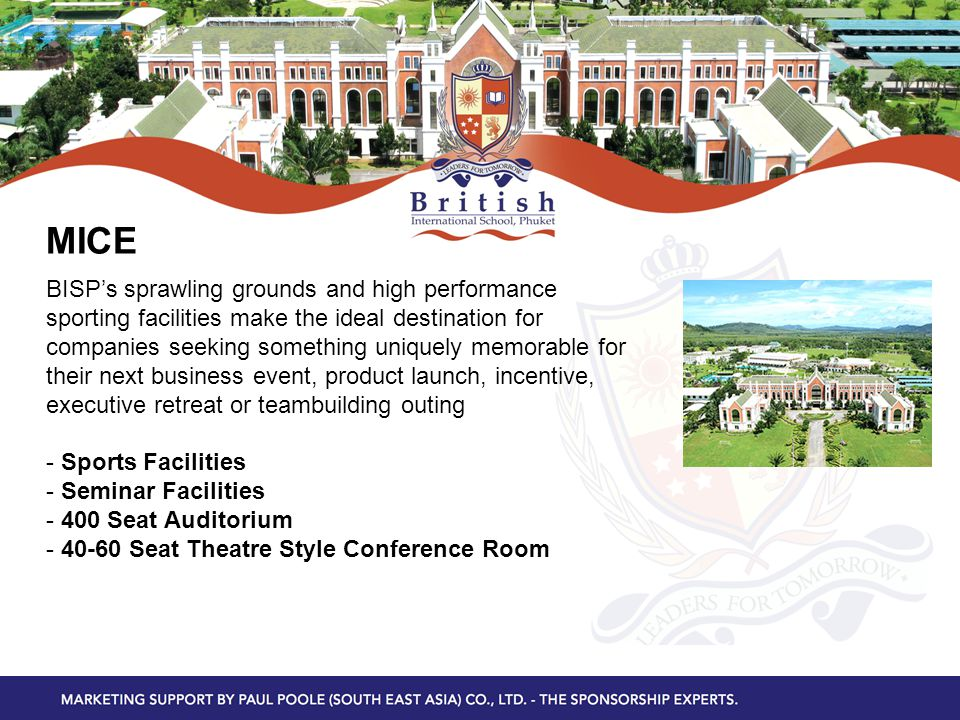 MICE BISP's sprawling grounds and high performance sporting facilities make the ideal destination for companies seeking something uniquely memorable for their next business event, product launch, incentive, executive retreat or teambuilding outing - Sports Facilities - Seminar Facilities - 400 Seat Auditorium - 40-60 Seat Theatre Style Conference Room