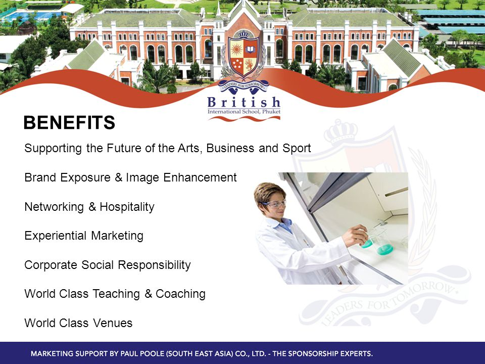 BENEFITS Supporting the Future of the Arts, Business and Sport Brand Exposure & Image Enhancement Networking & Hospitality Experiential Marketing Corporate Social Responsibility World Class Teaching & Coaching World Class Venues