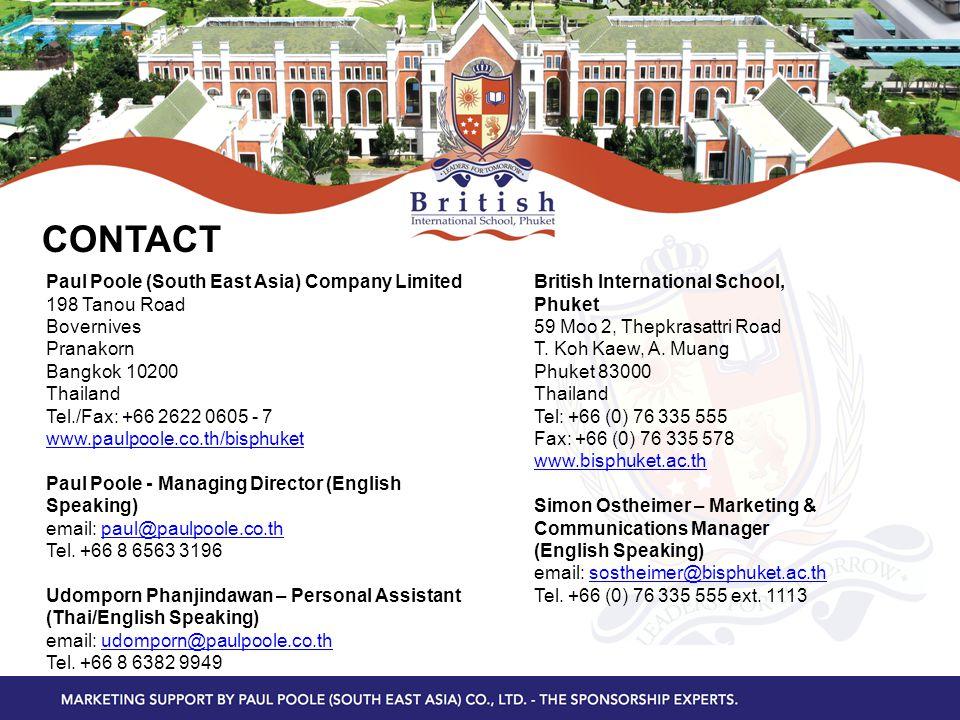 CONTACT Paul Poole (South East Asia) Company Limited 198 Tanou Road Bovernives Pranakorn Bangkok 10200 Thailand Tel./Fax: +66 2622 0605 - 7 www.paulpo
