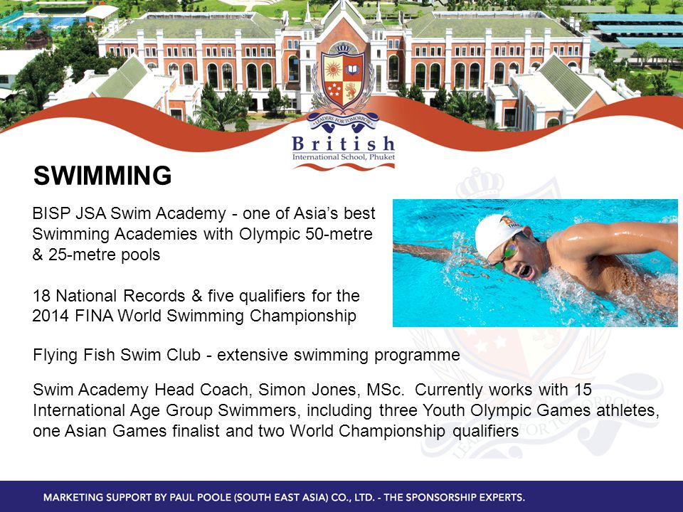 PACKAGES Tier 1: Official Sponsors Naming Rights To Academies & Major Facilities - High Performance Sports Academies – Swim; Tennis; Football; Golf - Art & Design Academy & Business Academy - Other Major Facilities Tier 2: Official Suppliers & Media Partners From different industries that can provide supplies – all from non-competing categories Providing media support Tier 3: Special Event Partners Packages for special events held at BISP - each academic, arts and sports academy/facility holding a signature event/events each year, e.g.
