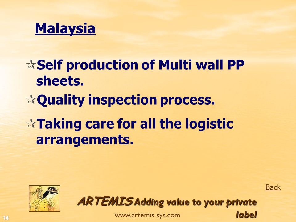 ARTEMIS Adding value to your private label www.artemis-sys.com 13 India Back  Located in Mumbai.