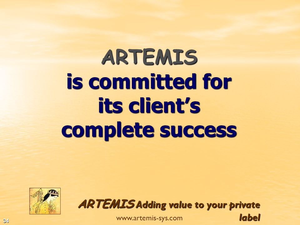 ARTEMIS Adding value to your private label www.artemis-sys.com 33 In addition we provide full service for distributors of international brands of stationery products such as:  Disney brands such as Winnie the Pooh, Tinkerbell etc..