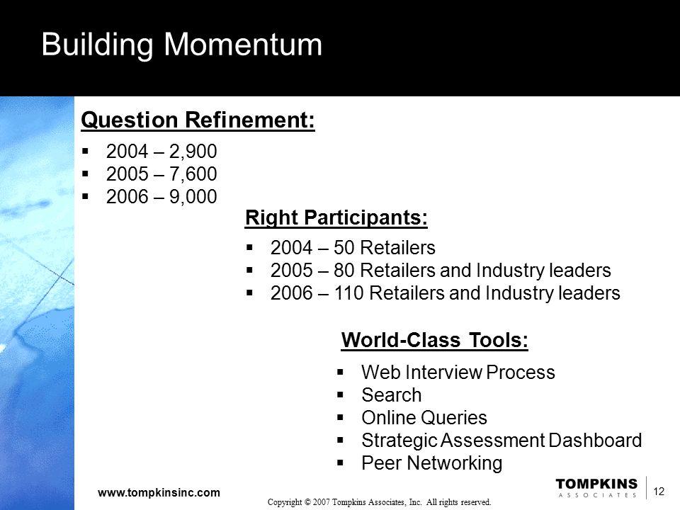12 www.tompkinsinc.com 12 Copyright © 2007 Tompkins Associates, Inc. All rights reserved. Building Momentum Question Refinement:  2004 – 2,900  2005