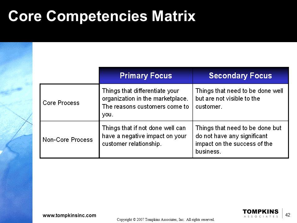 42 www.tompkinsinc.com 42 Copyright © 2007 Tompkins Associates, Inc. All rights reserved. Core Competencies Matrix